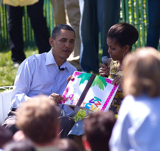 The president and Michelle Obama teamed up on the reading of a children's story, Chicka Chicka Boom Boom.