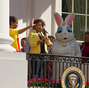 "Rachel Crow sings the National Anthem on the balcony with the First Family and the Easter Bunny. The 134th annual White House Egg Roll attracted over 30,000 visitors to the White House South Lawn for a day of racing, reading and fun on Monday, April 9, 2012. The theme of this year's egg roll was ""Let's Go, Let's Play, Let's Move!"" which was modeled after the First Lady's ""Let's Move!"" campaign.  (Photo by Jeff Malet)"