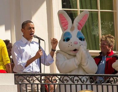 "President Barack Obama and the First Family appear on the White House balcony with the Easter Bunny. The 134th annual White House Egg Roll attracted over 30,000 visitors to the White House South Lawn for a day of racing, reading and fun on Monday, April 9, 2012. The theme of this year's egg roll was ""Let's Go, Let's Play, Let's Move!"" which was modeled after the First Lady's ""Let's Move!"" campaign.  (Photo by Jeff Malet)"