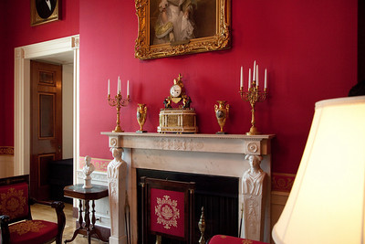 The Red Room is one of three state parlors on the first floor in the White House. The room has served as a parlor and music room, and recent presidents have held small dinner parties in it. It has been traditionally decorated in shades of red.