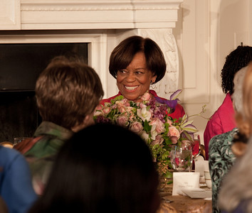 Michelle Obama paid tribute to her mother, Marian Robinson shown here, at a Mother's Day Tea in the State Dining Room of the White House on May 7, 2010. The event included former first lady Rosalynn Carter and granddaughter, Sarah Carter; President Richard Nixon's daughter Tricia Nixon Cox; and President Dwight D. Eisenhower's granddaughters Susan and Anne Eisenhower, along with young women who participate in Mrs. Obama's mentoring program, spouses and mothers of service members, and Vice President Joe Biden's wife, Jill. (Photo by Jeff Malet)