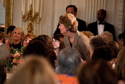 Michelle Obama acknowledged President Dwight D. Eisenhower's granddaughter Susan Eisenhower at a Mother's Day Tea in the State Dining Room of the White House on May 7, 2010. The event included former first lady Rosalynn Carter and granddaughter, Sarah Carter; another of President Dwight D. Eisenhower's granddaughters Anne Eisenhower and President Richard Nixon's daughter Tricia Nixon Cox along with young women who participate in Mrs. Obama's mentoring program, spouses and mothers of service members, and Vice President Joe Biden's wife, Jill. (Photo by Jeff Malet)