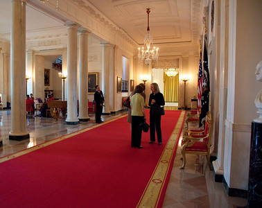 The Cross Hall is a broad hallway on the first floor in the White House. It runs east to west connecting the State Dining Room with the East Room. The room is used for receiving lines following a State Arrival Ceremony on the South Lawn, or a procession of the President and a visiting head of state and their spouses.