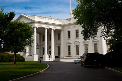 View of the White House North Portico. Tthe North Portico was added to the White House around 1830, in keeping with the Federal Style and the original designs for the building. Washington DC - May 7, 2010.
