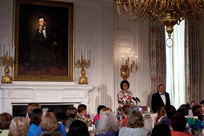 Michelle Obama paid tribute to her mother, Marian Robinson, at a Mother's Day Tea in the State Dining Room of the White House on May 7, 2010. The event included former first lady Rosalynn Carter and granddaughter, Sarah Carter; President Richard Nixon's daughter Tricia Nixon Cox; and President Dwight D. Eisenhower's granddaughters Susan and Anne Eisenhower, along with young women who participate in Mrs. Obama's mentoring program, spouses and mothers of service members, and Vice President Joe Biden's wife, Jill. Abraham Lincoln looks on. (Photo by Jeff Malet)