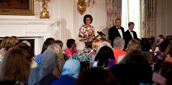 Michelle Obama honored her own mother, Marian Robinson, at a Mother's Day tea at the White House in Washington DC on May 7, 2010. The event included former first lady Rosalynn Carter and granddaughter, Sarah Carter; President Richard Nixon's daughter Tricia Nixon Cox; and President Dwight D. Eisenhower's granddaughters Susan and Anne Eisenhower, along with young women who participate in Mrs. Obama's mentoring program, spouses and mothers of service members, and Vice President Joe Biden's wife, Jill. (Photo by Jeff Malet)