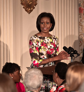 Michelle Obama paid tribute to her mother, Marian Robinson, at a Mother's Day Tea in the State Dining Room of the White House on May 7, 2010. The event included former first lady Rosalynn Carter and granddaughter, Sarah Carter; President Richard Nixon's daughter Tricia Nixon Cox; and President Dwight D. Eisenhower's granddaughters Susan and Anne Eisenhower, along with young women who participate in Mrs. Obama's mentoring program, spouses and mothers of service members, and Vice President Joe Biden's wife, Jill. (Photo by Jeff Malet)
