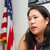 Mayor Lisa Wong talks about being the State Director from Ma. in the Young Elected Officials Network on Friday at City Hall.  SENTINEL & ENTERPRISE/JOHN LOVE