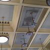 Discolored spots on the ceiling of the second-floor main reading room at the Pollard Memorial Library show where 5,000 gallons of water leaked through after a pipe burst in the attic over the weekend.  SUN / ALANA MELANSON