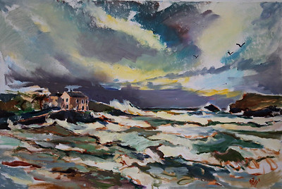 Polzeath house by Sophie Walbeoffe - 2014 Storm