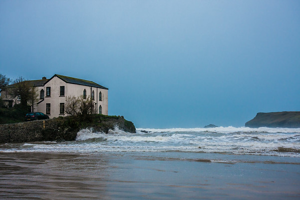 Polzeath House at high tide