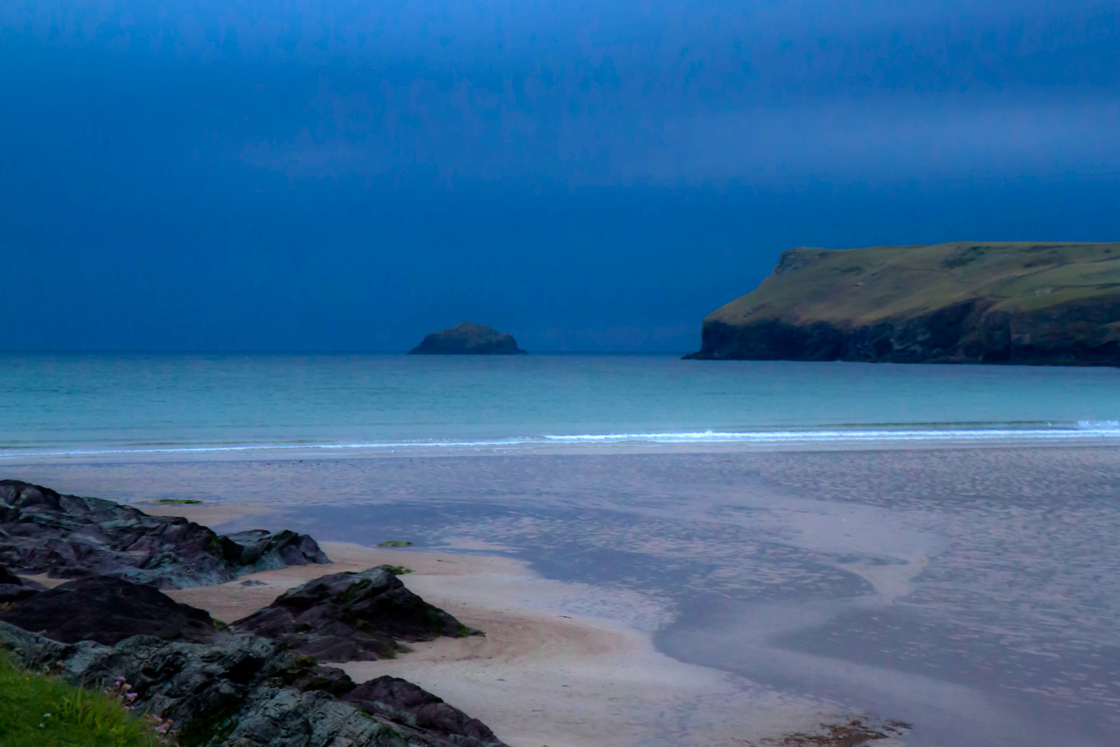 Polzeath Beach in Blue
