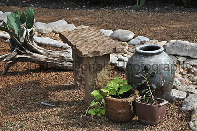 Stone benches were made from rock for a cost of about $25 each.