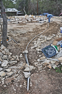 Electrical conduit and pond auto-fill.