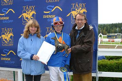 Helena Mansén, Jeff Åkesson och Kjell Olsson. SM i ponnygalopp kat B 2012