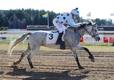 Rowdy Boy och Amanda Bäckström vinner kat B  | Täby 130505 |  Foto: Stefan Olsson / Svensk Galopp
