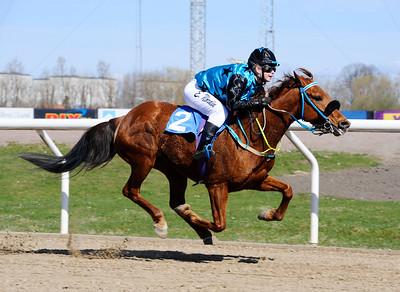 Västergårds Hidalgo vinner med Emma Nordin   Jägersro 150419   Foto: Stefan Olsson / Svensk Galopp