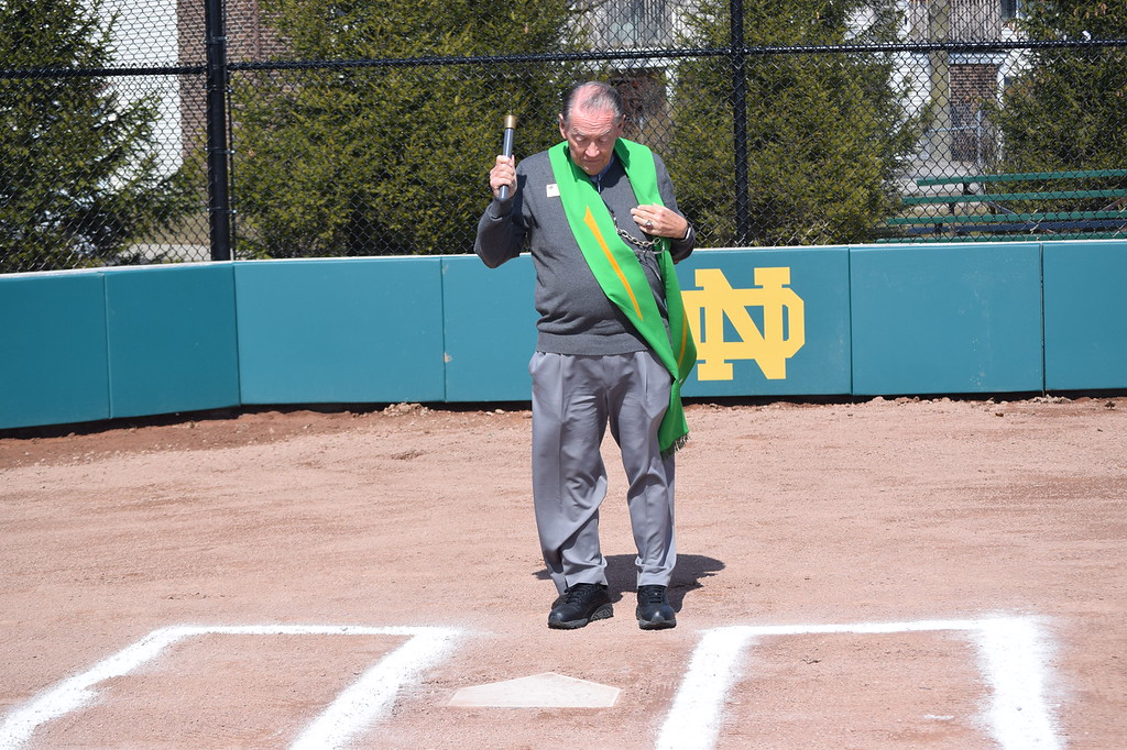 . Fr. Leon Olszamowski blessed the bats and the home plates of the new baseball and softball fields at Pontiac Notre Dame Prep\'s dedication ceremony on Thursday.