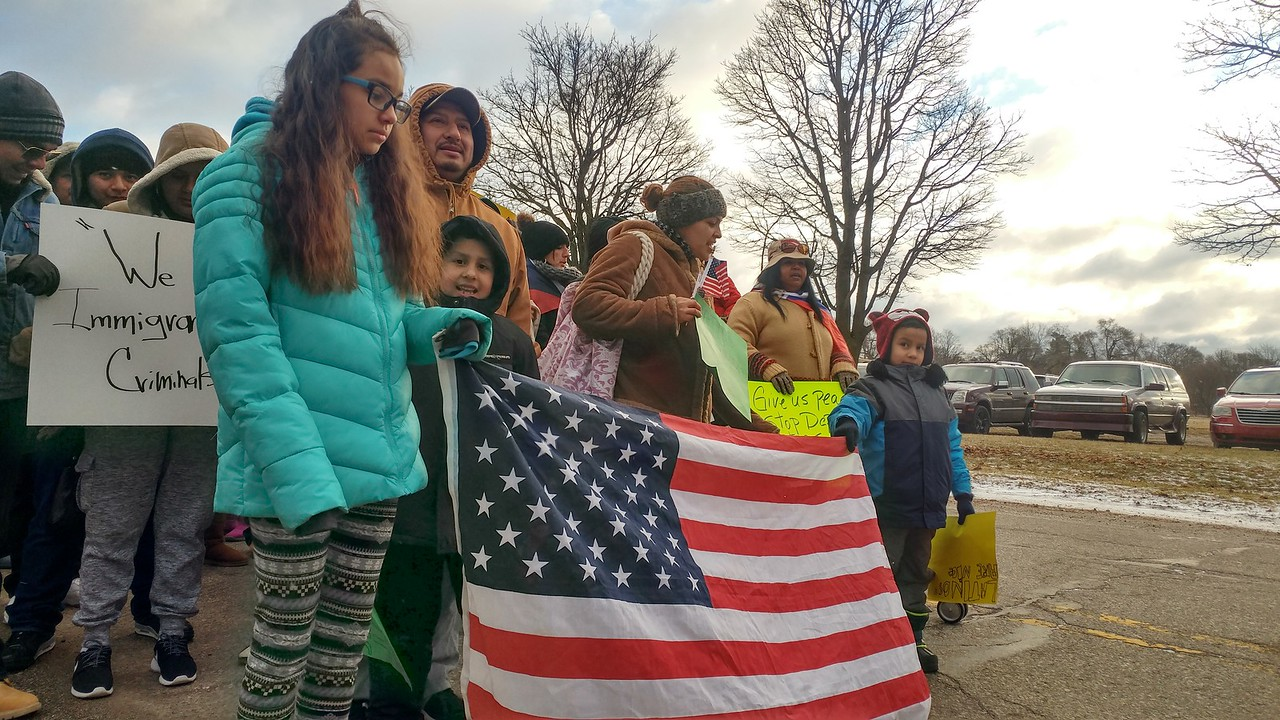 "Hundreds of people march through downtown Pontiac for the ""A Day Without Immigrants"" rally taking place across the nation on Thursday, Feb. 16, 2017."