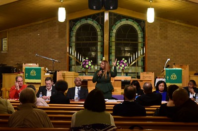"Pontiac Schools Superintendent Kelley Williams speaks to the crowd at the ""Save Our Public Schools"" community meeting at Newman A.M.E. Church, 233 Bagley St. in Pontiac on Tuesday, Feb. 28, 2017."