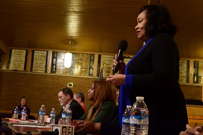 "Pontiac Mayor Deirdre Waterman speaks at the ""Save Our Public Schools"" community meeting at Newman A.M.E. Church, 233 Bagley St. in Pontiac on Tuesday, Feb. 28, 2017."