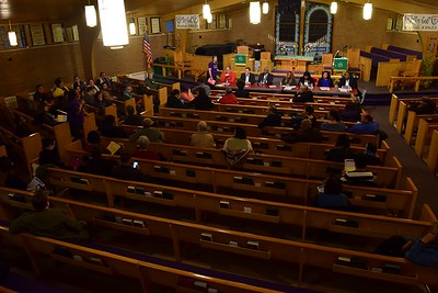 "The ""Save Our Public Schools"" community meeting at Newman A.M.E. Church, 233 Bagley St. in Pontiac on Tuesday, Feb. 28, 2017."