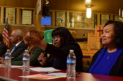"Brenda Carter, president of the Pontiac School Board of Education speaks to the crowd at the ""Save Our Public Schools"" community meeting at Newman A.M.E. Church, 233 Bagley St. in Pontiac on Tuesday, Feb. 28, 2017."