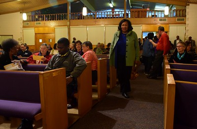 "Pontiac Mayor Deirdre Waterman arriving to the ""Save Our Public Schools"" community meeting at Newman A.M.E. Church, 233 Bagley St. in Pontiac on Tuesday, Feb. 28, 2017."