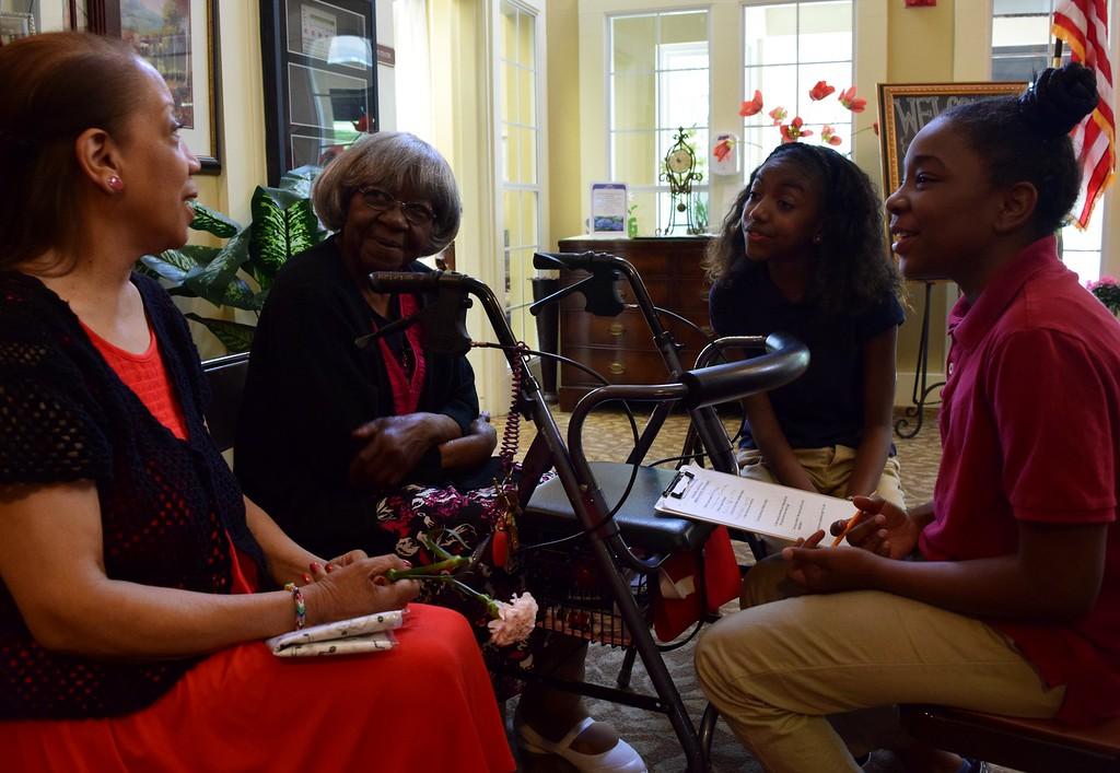 . Sixth graders from Great Lakes Academy in Pontiac interview seniors at the American House Oakland Senior Living Facility in Auburn Hills on Monday, May 15, 2017.