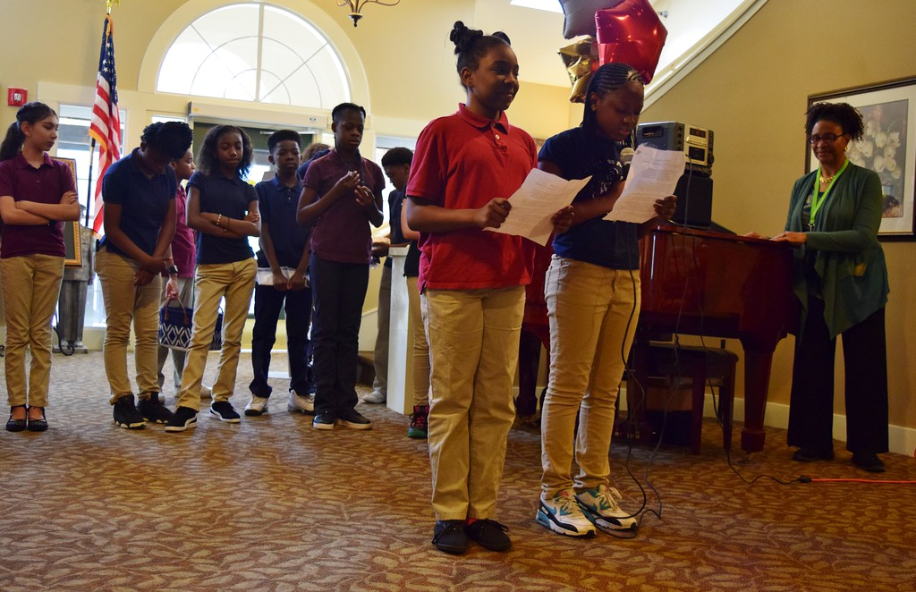 . Sixth graders from Great Lakes Academy in Pontiac perform for seniors at the American House Oakland Senior Living Facility in Auburn Hills on Monday, May 15, 2017.