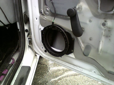 "Speaker adapter from  <a href=""http://www.car-speaker-adapters.com"">http://www.car-speaker-adapters.com</a> installed in passenger door."