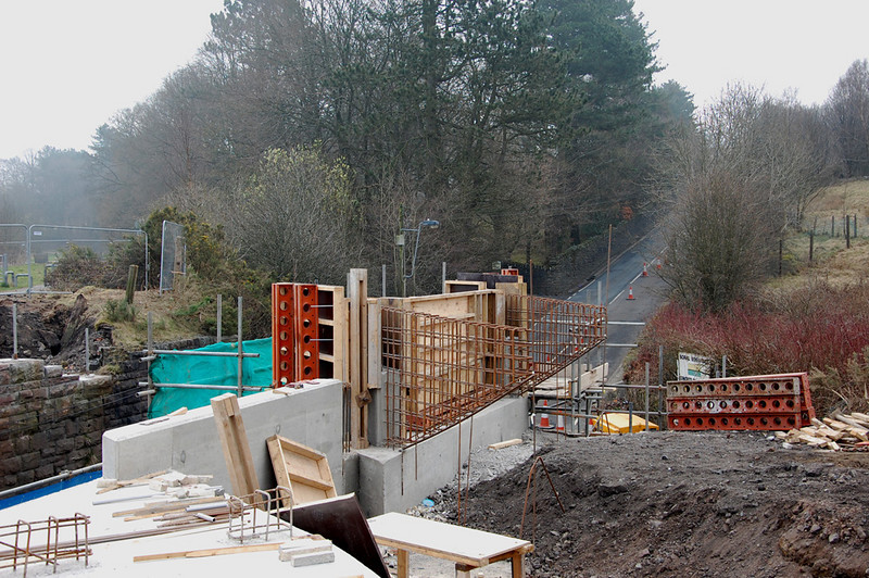 Close up of the work for the cycle track bridge