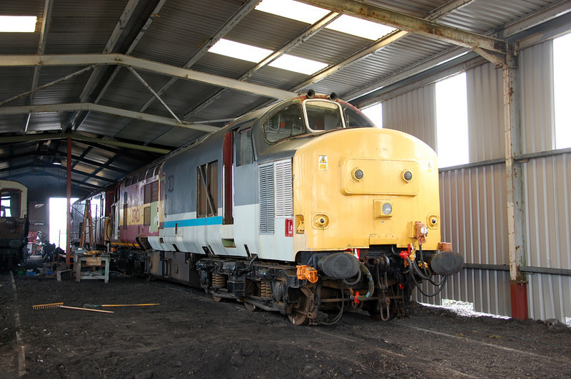 37421 becomes the first locomotive into the Top Shed Extension