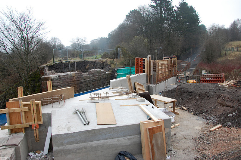 Work on the Varteg Road bridge, this is where the railway will run. Cycle track is to the right.