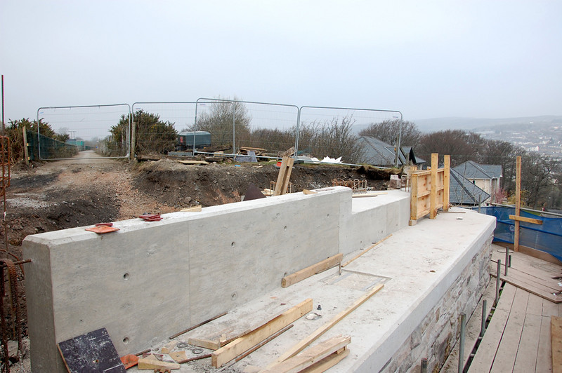 Top of the abutment showing the work that is being done to support the railway carrying section.