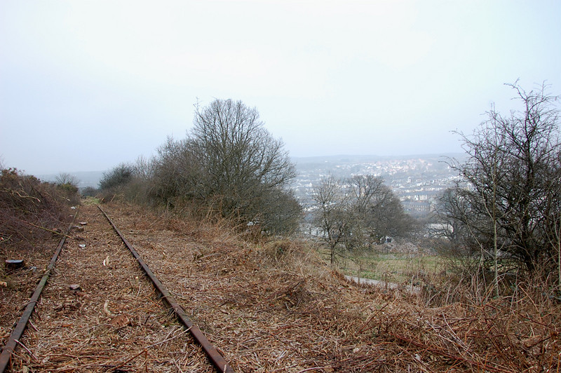 Looking back north, Blaenavon is to the left through the trees.
