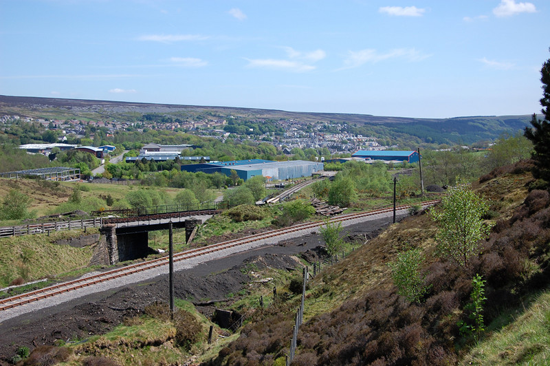 The complex of lines at the south end of Furnace Sidings, in the foreground is the Big Pit Branch, then the rail over rail bridge, and in the distance the mainline to Blaenavon