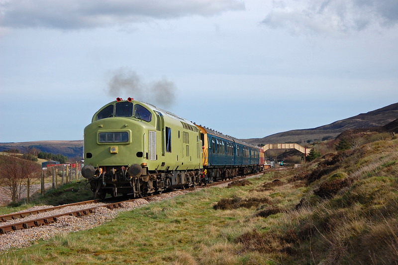 A hint of exhaust as 37216 opens up on the way to the Whistle Inn