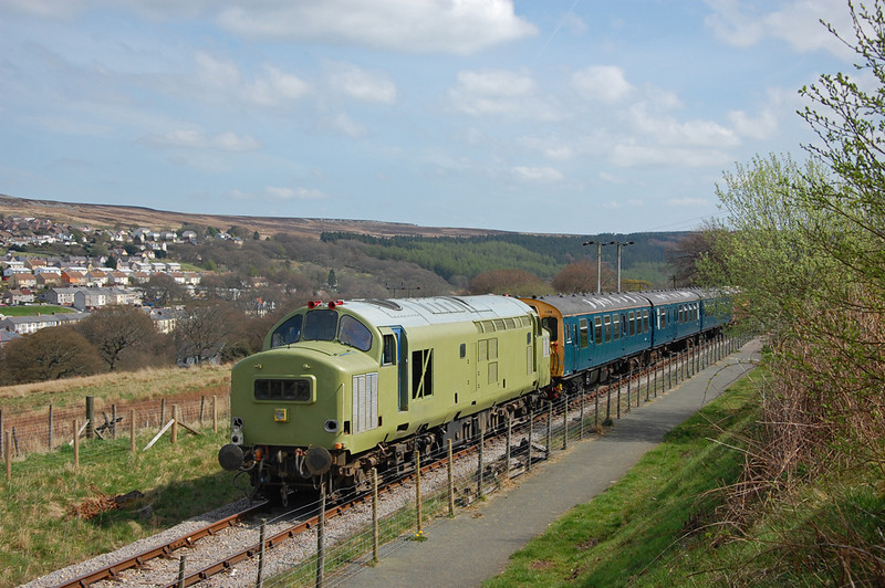 37216 brings up the rear, in the background is Blaenavon