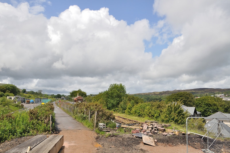 Looking back from the cycle track, it will make a great place to watch the trains run round or head south - that gorse will have to go!