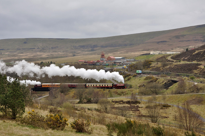 Storming back from Blaenavon 71515 and No.19 attack the 1 in 24 to Furnace Sidings. Directly above 71515 is Big Pit Halt and behind that Big itself. There are 4 steam locomotives in this shot.