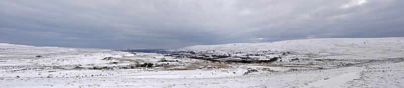 Panorama stitched together from 3 images looking down the valley from towards Garn-yr-Erw and Blaenavon