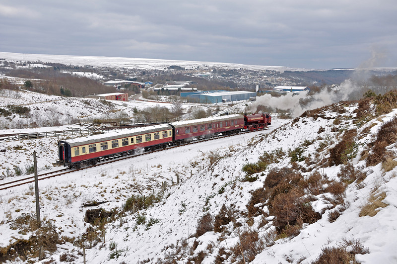 The train just after leaving Big Pit, in the background is a snow covered Blaenavon.
