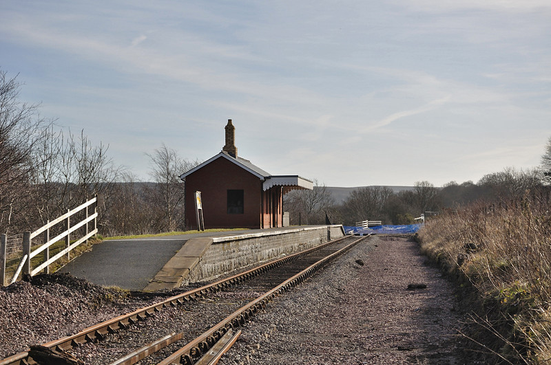 Blaenavon High Level looking south, empty track bed on the right hand side has been prepared for the loop