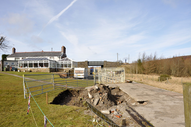 Hole being dug ready for the new platform shelter at the Whistle Inn