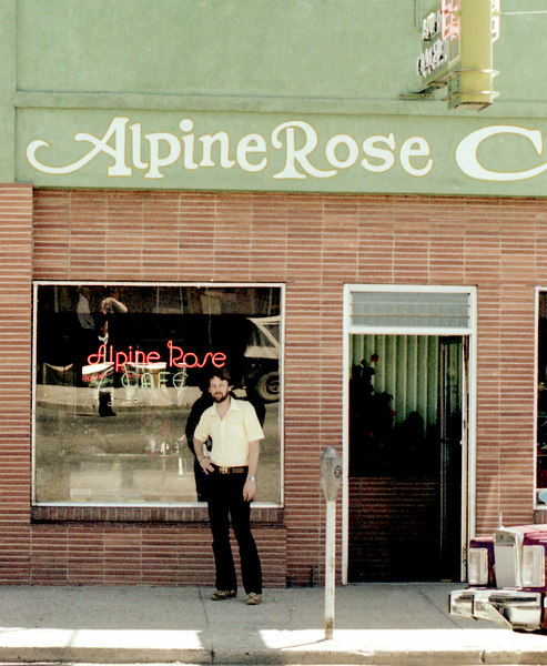 Bill Porter standing just outside the Alpine Rose Cafe. Hey, you have to eat!