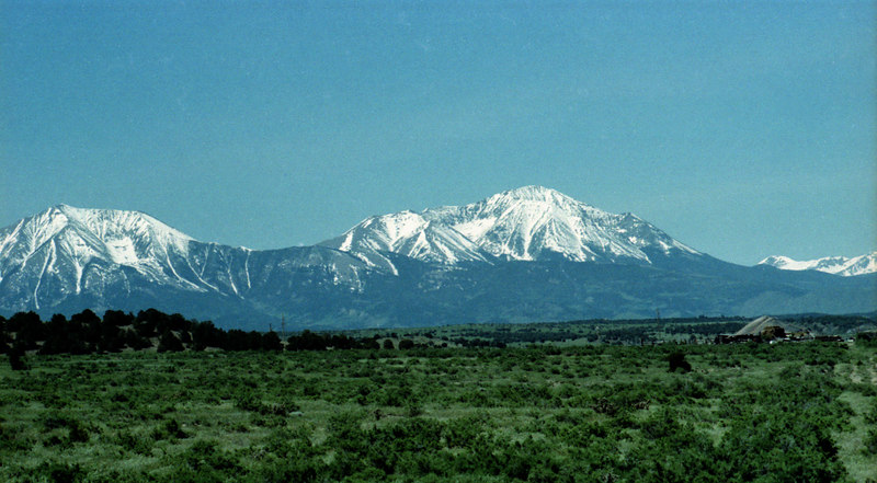 The Spanish Peaks in southern Colorado, not far from the venue of the Rocky Mountain 9-Ball Open. How can you not like the mountains of Colorado? This is a re-scanned image.