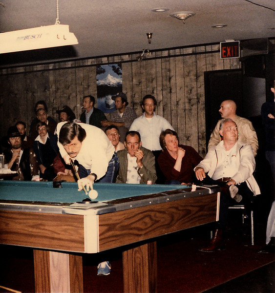 "Larry Hubbart, the original ""Ice Man,"" coolly sinks the 8-ball in the corner pocket. An AZ poster named Doug said, ""I'm fairly certain the bald guy, far right, is Phil Windham who owns CBC in Chattanooga, Tn."""