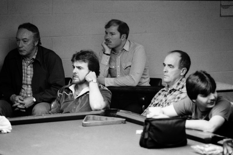 Allen Hopkins - among the sweaters. I believe that is the late Paulie Campbell at the far right. That is Paul Hartley with his chin on his hand (according to Jay Helfert). The Saw on AZ Billiards said that he is about 90% sure that is Kenny McCoy on the far left.<br /> Reply With Quote