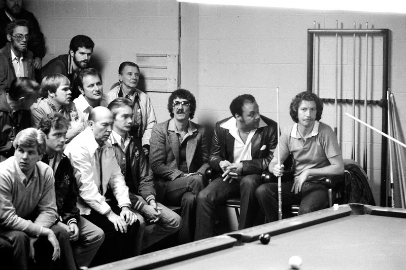 "Jim Rempe - Roy Ruffin seated next to Rempe, Daryll ""Bo"" Donohue from Rochester, NY with the glasses, Larry Wiggins seated at far left"